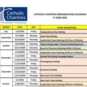 FY 20-21 Org Calendar